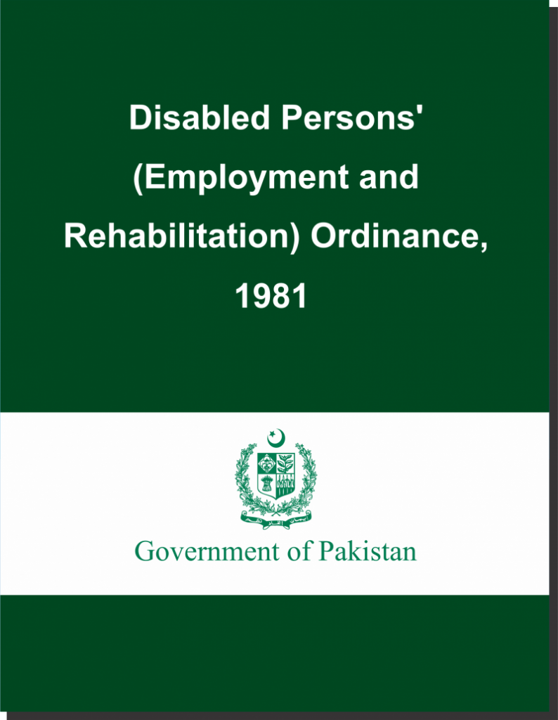 Title Page of Disabled Persons Ordinance 1981 (English)
