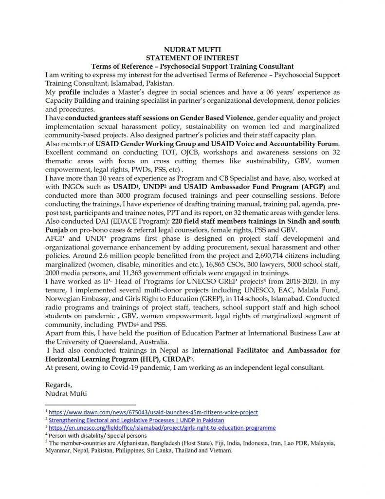 Nudrat Mufti Cover Letter CV