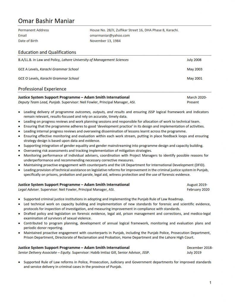 Omar-Bashir-Maniar CV